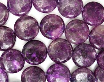 "25mm purple sugilite quartz coin beads 16"" strand 38476"