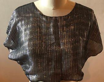 Metallic Silk Chiffon Crop Top
