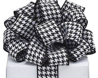 "1.5"" Houndstooth Wired Ribbon - 5 yards, Houndstooth Ribbon,  Houndstooth Wired Ribbons, Houndstooth Ribbons, Alabama Ribbon #9725134"