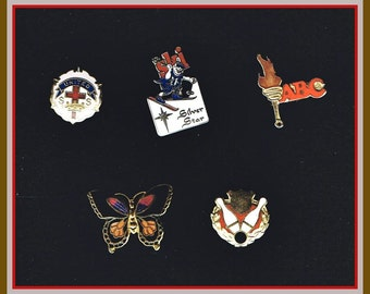 5 Lapel Pins - With Brooch Back Clasp