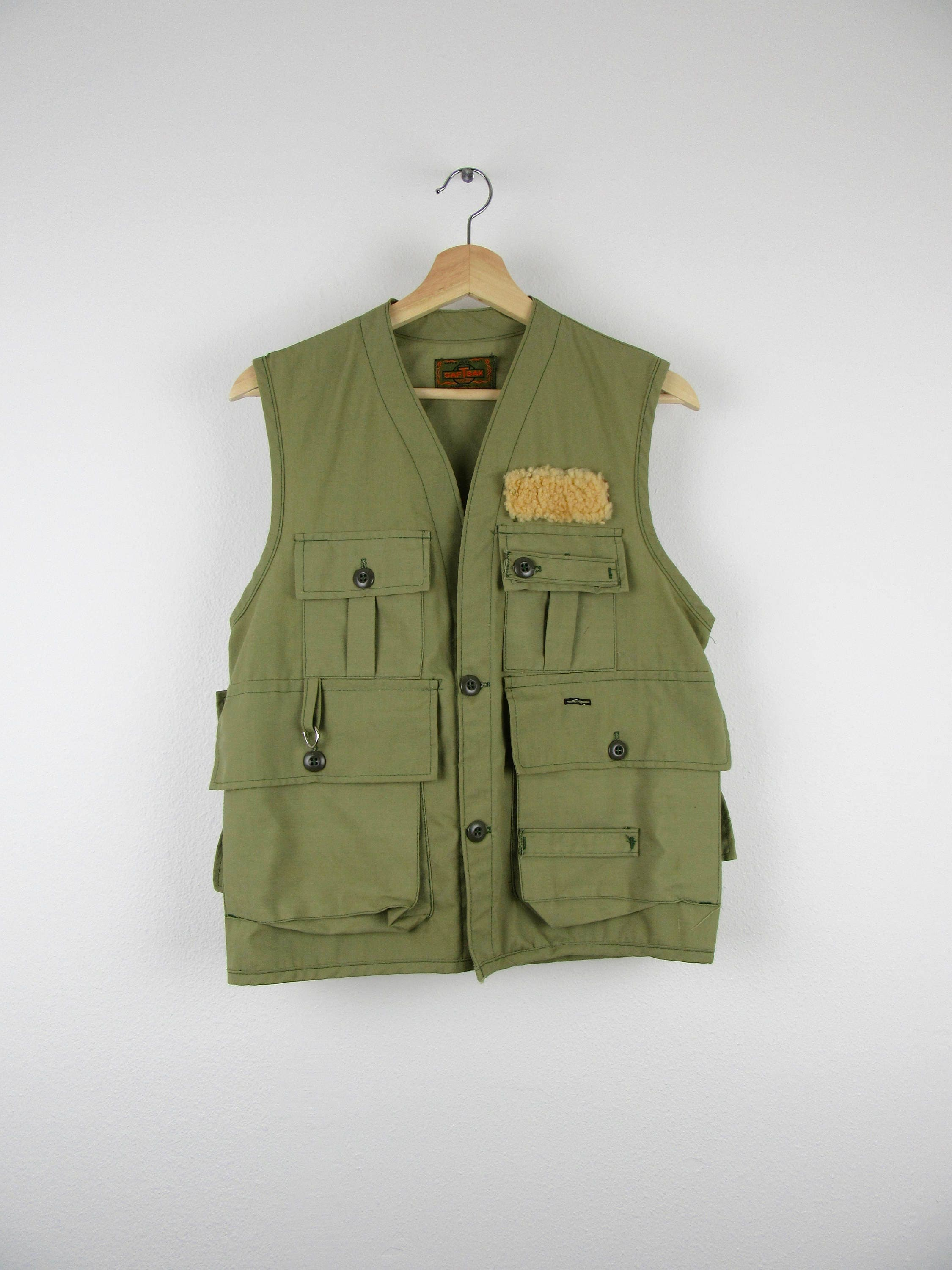 Vintage 60s fishing vest women 39 s soft pale green army for Womens fishing vest
