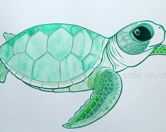 Green Sea Turtle Hatchling - Sofie Seyah Watercolour and Ink Nautical Illustration - Nursery Art - Art Print