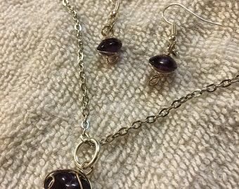 Wrapped Purple Necklace/Earring Combo
