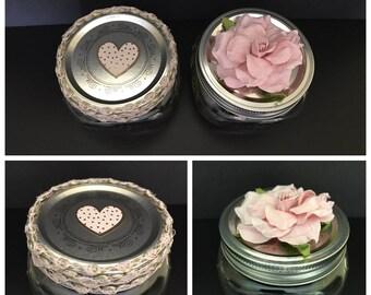 Floral adorned mason jar