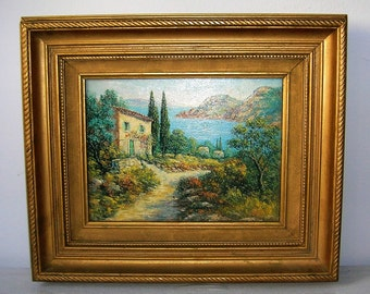 Painting representing a landscape of Provence, oil painting, art and collection, peinture à l'huile, tableau, collection
