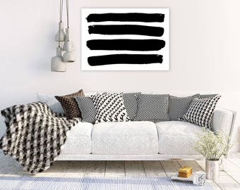 Large Abstract Print, Black and White Abstract, Printable Artwork, Brush Strokes Print, Lines Wall Art, Digital Download, Art Printable, A1