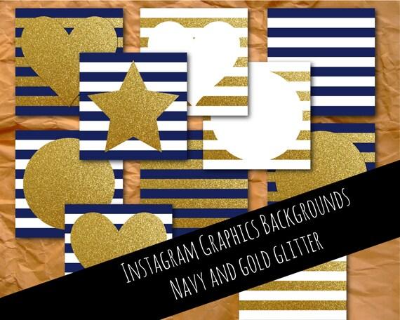 Instagram graphics, navy and gold, glitter, graphics, Instagram template, Instagram images, Instagram photos, branding, digital