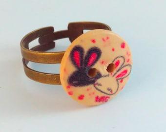 Rabbit button ring, handmade ring, handmade button ring, bunny ring,  bunny button ring, rabbit ring, bunny rabbit ring, kawaii ring, bunny