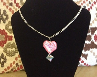 Shiny iridescent metallic colourful Friendly Plastic necklace, pink heart