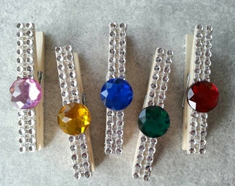 10 Silver blinged out clothes pin card holders, photo, diamond mesh, chip clip,