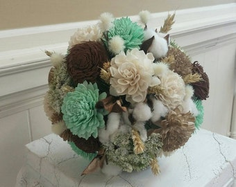 Large Mint Green, Brown & Gold Sola Flower Bouquet