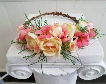 Soft Yellow and Coral Flower Crown