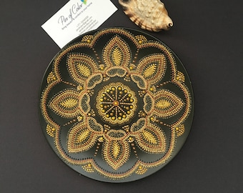 Gold mandala. Decorative plate. Ceramic. Home decor. Women Gift idea for her. Wall decor. Interior tray. Charger plate Anniversary gift