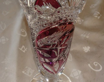 Vintage Cranberry / Ruby & Crystal Cut To Clear Echt Bleikristall Lead Crystal Vase - Germany