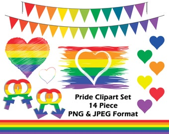 Rainbow Pride Clip Art  - 14 Pieces - PNG Files #77