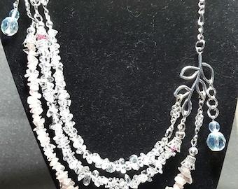 Rose Quartz And Rock Crystal  Necklace