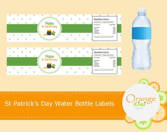 St Patrick's Day Water Bottle Labels, St Patrick's Day Party Decor, St Pattys Day Water Bottle Wraps, Waterproof Labels, Pot of Gold