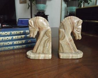 "Marble horses bookends .Home decor. Library Gift. 6 1/4""H  Perfect  bookends for elegant artistic home. Gift idea"