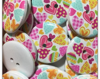 """6 or 12 Large heart buttons, wood heart buttons, sewing, crafts, wooden buttons 30mm 1 3/16"""" 30 mm 1 3/16 inch pink red blue Valentine"""