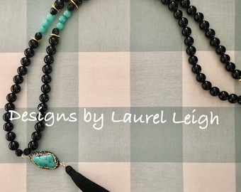 Black and Turquoise Tassel Necklace, statement necklace, gold, beaded, dressy, boho chic