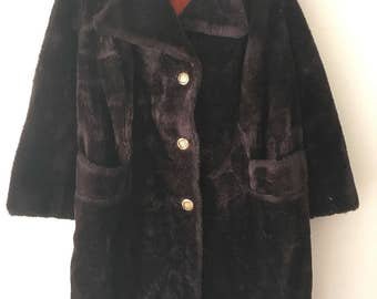 Burningman Style Short Vintage Dark Brown Faux Fur Coat  Men's Size Small .
