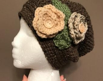Slouchy beanie/ Flower beanie / Crochet beanie