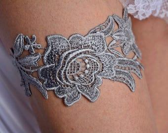 Grey Wedding Garter, Grey Garter Set, Wedding Garter Grey, Wedding Garter Set, Wedding Clothing, Wedding Gift, Lace Garter Grey, Garter Grey