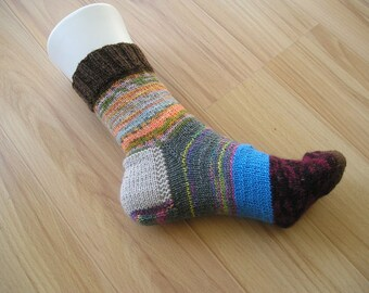 knitted colorful remaining socks, knitted socks made of wool remains - unique, good mood-socks - Gr. 37