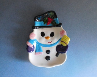 Vintage Handmade Snowman Candy Dish for Winter/Holidays