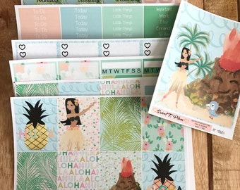 Hula Girl Hawaii Tropical weekly kit Recollection Planner planner stickers weekly stickers