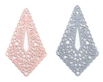 Print / pendant filigree (components) large drop sharp (diamond) 45x73mm light pink or grey