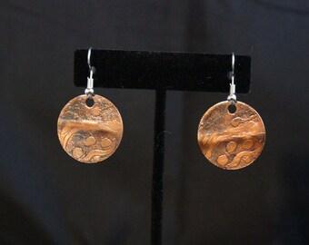 Unique Etched Copper Earrings (031217-013)