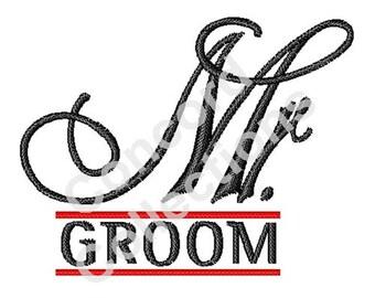 Groom Script Machine Embroidery Design