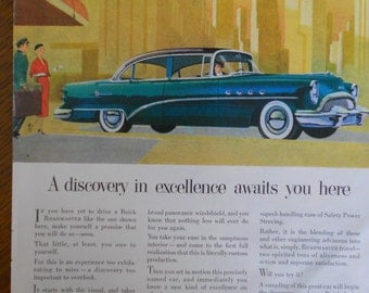 1954 Buick Roadmaster ad.  1954 Buick Roadmaster.  Vintage Buick ad.  Full color, illustrated.