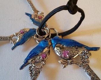 Blue birds silver tone measuring spoons