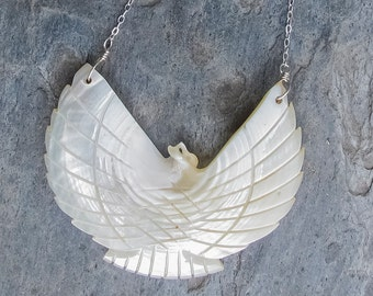 Mother of pearl bird pendant sterling silver necklace