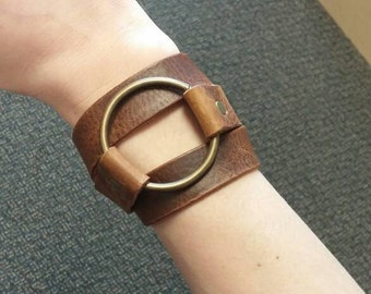 Antique Bronze Ring Leather Wrap Bracelet | Ring Leather Wrap Bracelet | Double Wrap Leather Brass O-Ring Leather Cuff Bracelet