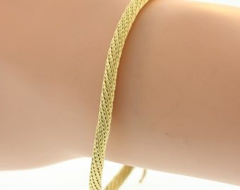 Mesh Cable Structured Bracelet- 14k Yellow Gold