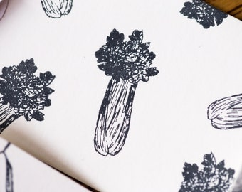 Mini Stamp Celery - 1 inch x 1/2  inch - hand drawn celery - produce & farm branding - celery stamp