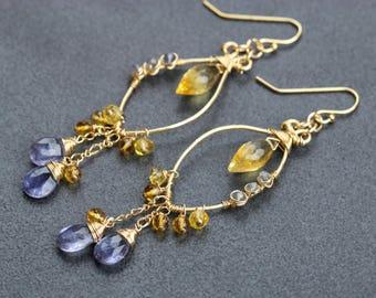 40% SALE Yellow Citrine Chandelier Earring, Citrine Earring Gold Filled Wire Wrapped Statement Earring, Gemstone Dangle Hoop Earrings