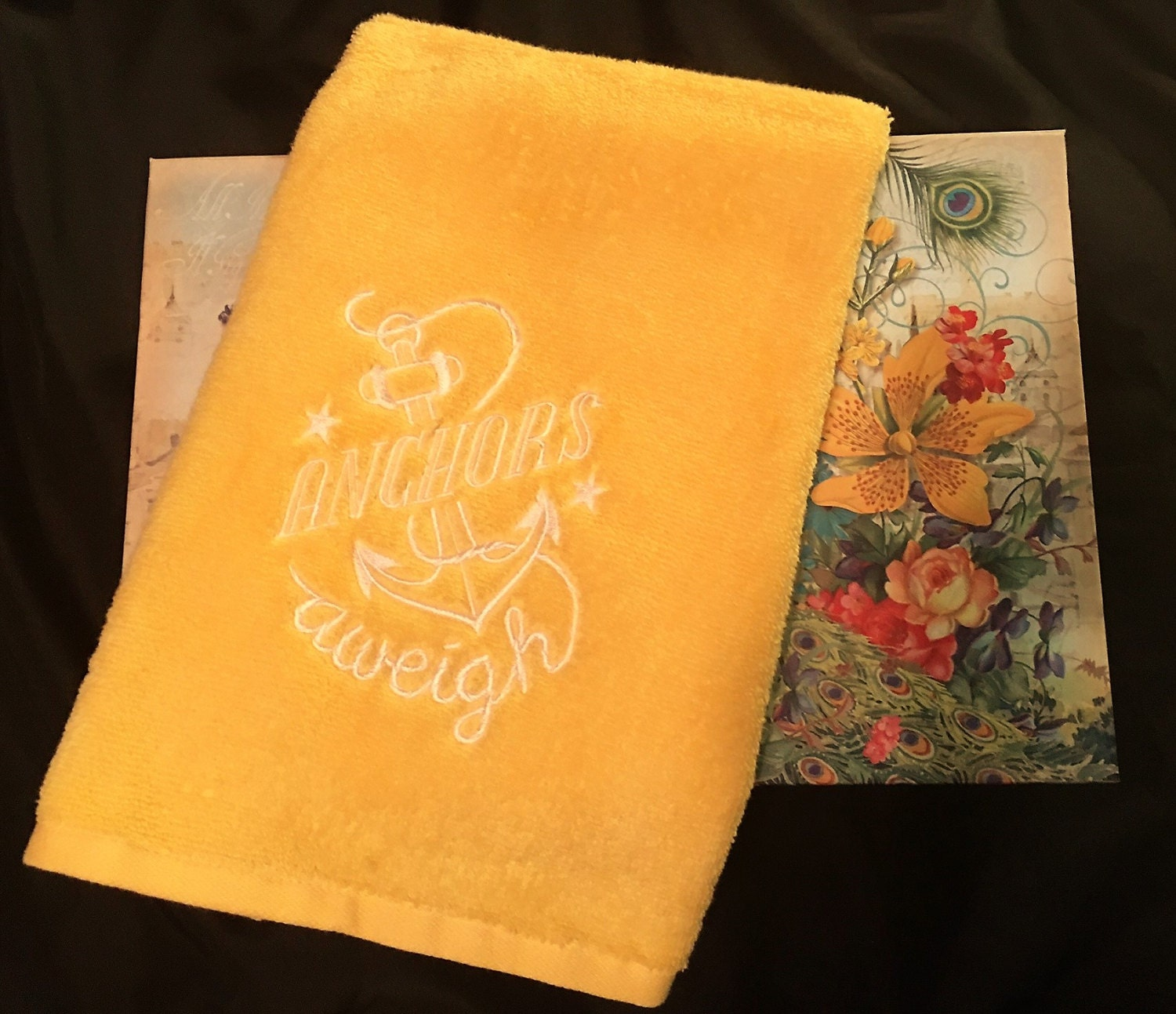 Anchors Aweigh Embroidered Towel Yellow Hand Towel