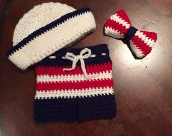 Red white and blue sailor outfit