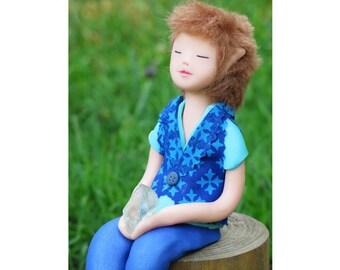 elf doll. Art doll. Elf of compassion. Magic. Handmade. Fluorite. Fantasy. ooak. Fairy. Healing Stones. Self-awareness.