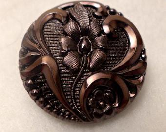 Czech glass button - pinkish brown  - 27 mm