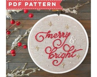 PDF Holiday Embroidery Pattern Merry and Bright. Christmas Hoop Art. DIY Embroidery. Christmas Decor. Mantle Decorations. Christmas Crafts.