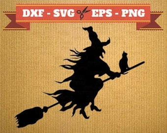 Witch svg vector files for cricut, halloween cutting files, clipart witch, DXF files halloween, silhouette witch, svg halloween
