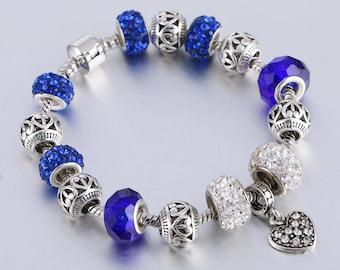 Pandora bracelet pandora charm ''PANDORA CHARMS'' European charm bracelet silver plated with the beads and hearth theme Love Charm