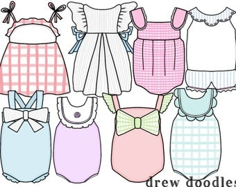 Girls' Dresses Digital Clip Art Set- Instant Download