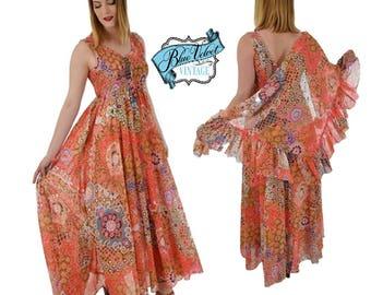 70s Semi Sheer Mod Floral Maxi Dress-1970s-70's- Empire Style Floaty-Flowy-Festival Dress-Boho Chic Summer Dress-Beach-Resort Small-Med