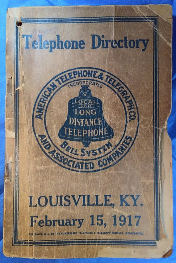 1917 louisville telephone directory old phone book antique for California company directory